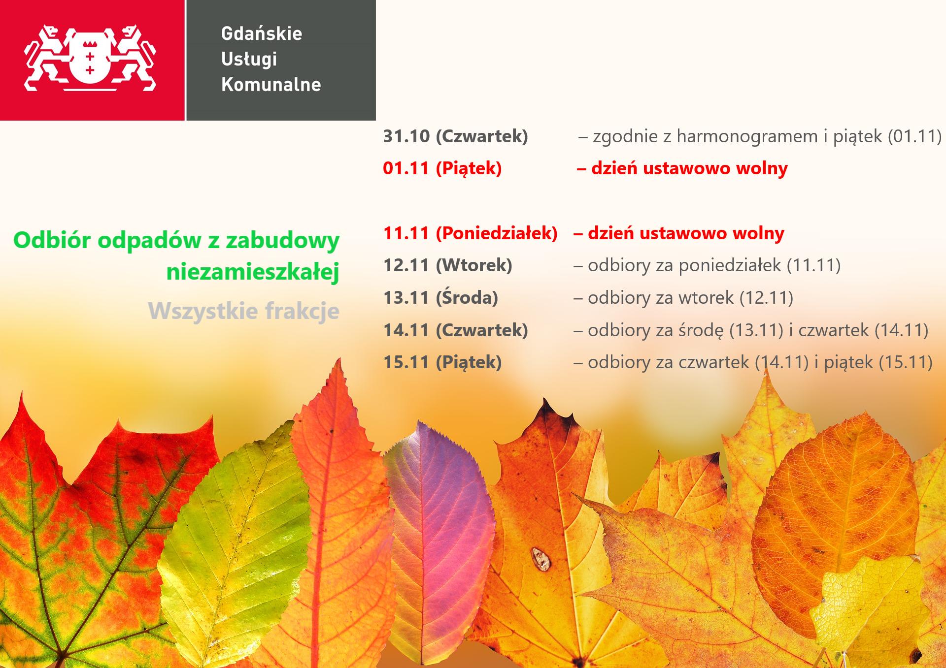 Zmiana harmonogramu odbioru odpadów w związku z 1 i 11 listopada - odbiór od firm