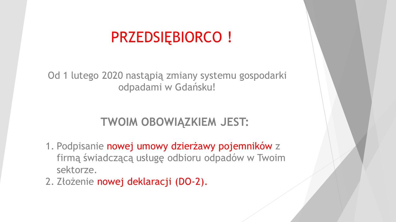 od 1.02.2020 zmiany w systemie gospodarki odpadami dla Przedsiębiorców